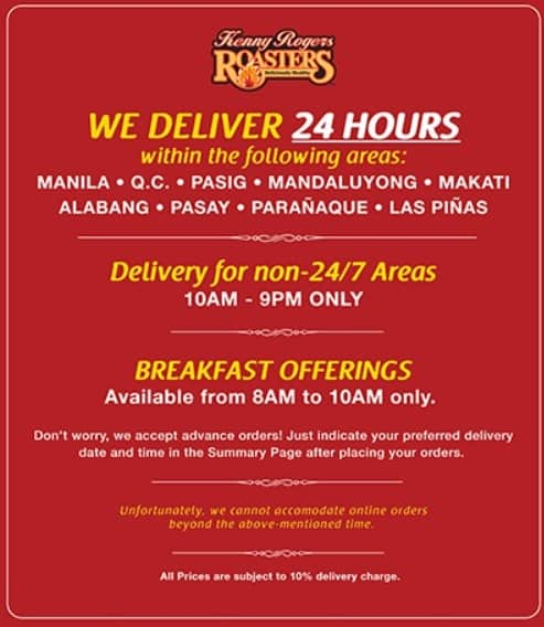 Kenny Rogers Delivery Service Philippines