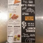 Menu At Yellow Cab Showing Extras, Beverages, And Xl Pizza Slices