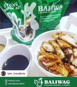 Baliwag Liempo in a bowl on the right and soy sauce on the left